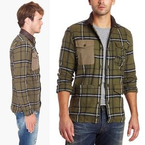 Flannel Work Shirt with Leather Collar by Diesel
